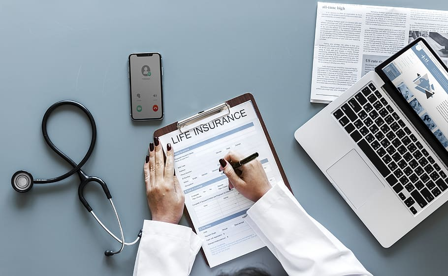 american, application, care, clinic, computer, data, digital device, doctor, flatlay, form